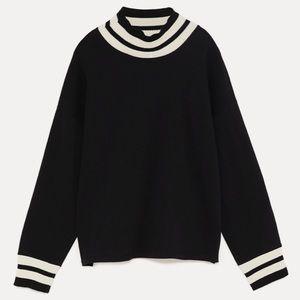 Zara | Black Sweater with White Trim